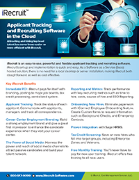 iRecruit Applicant Tracking and Recruiting Software Brochure