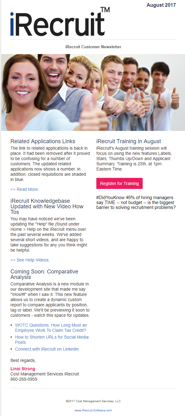 iRecruit Customer Newsletter August 2017