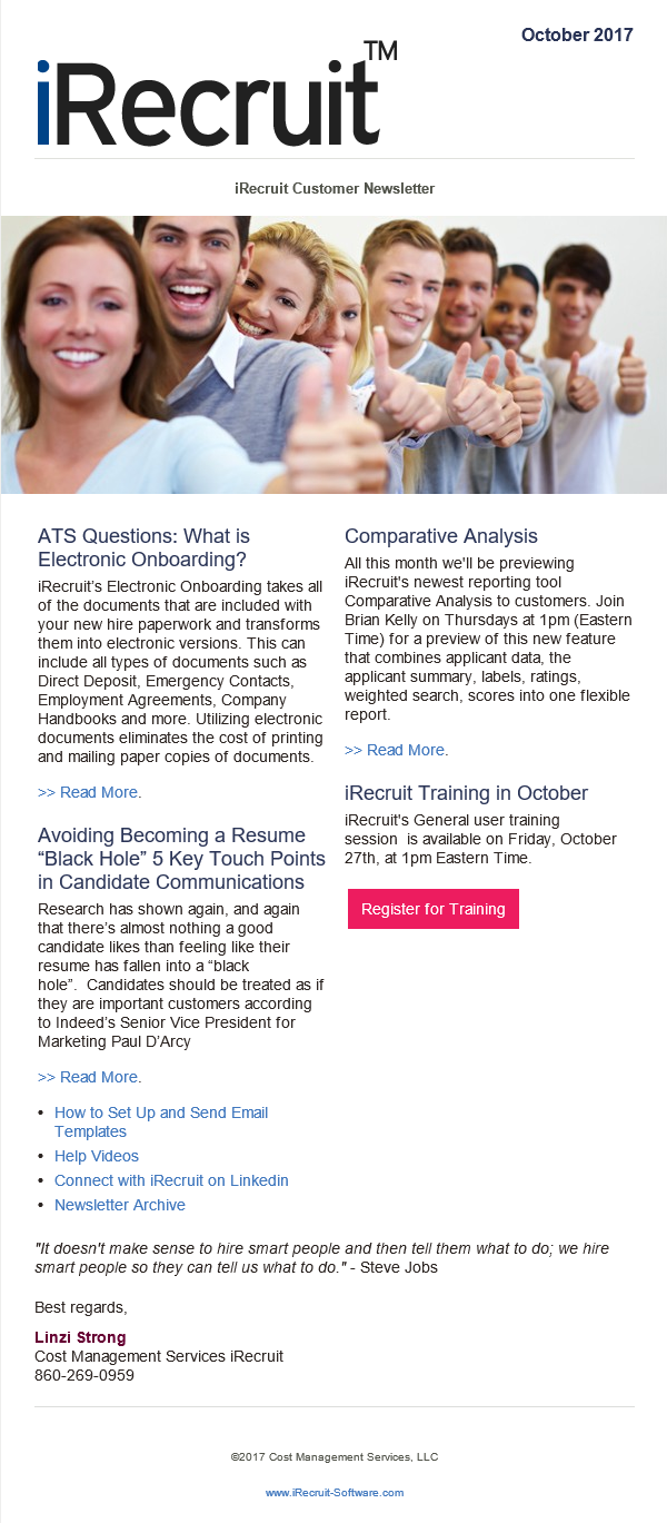 iRecruit Customer Newsletter October 2017