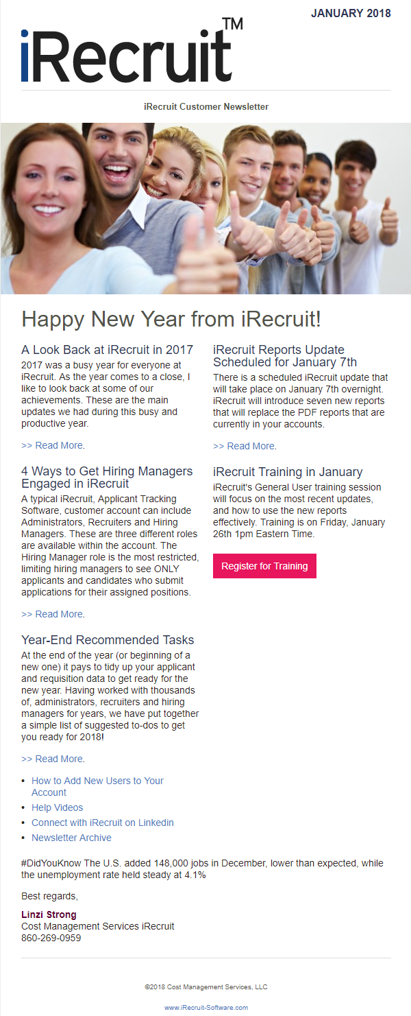iRecruit Newsletter January 2018