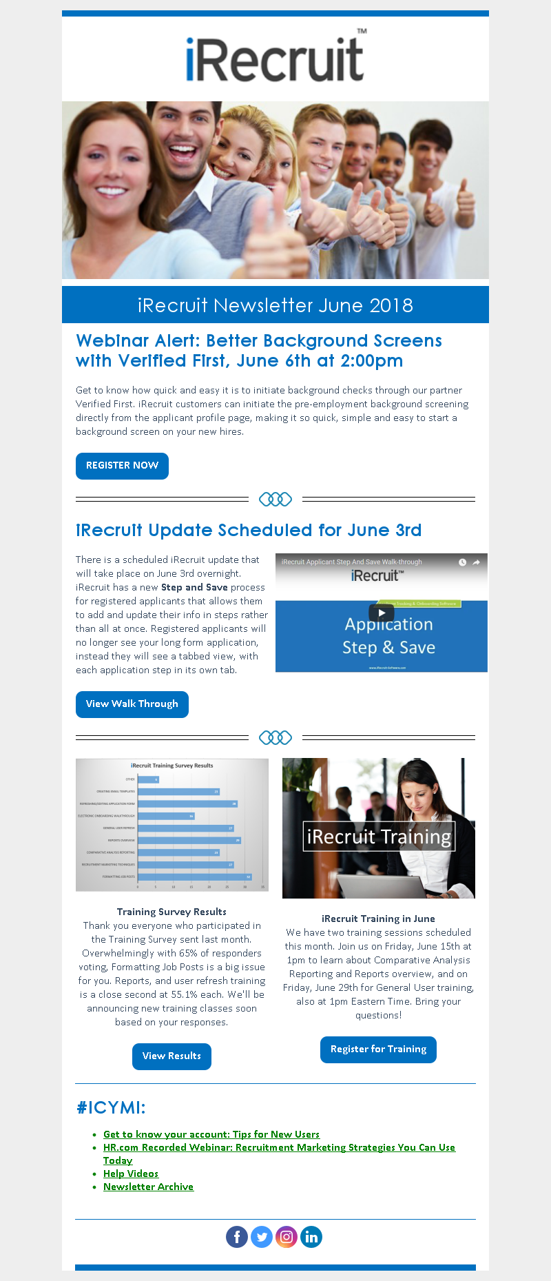 iRecruit Customer Newsletter June 2018