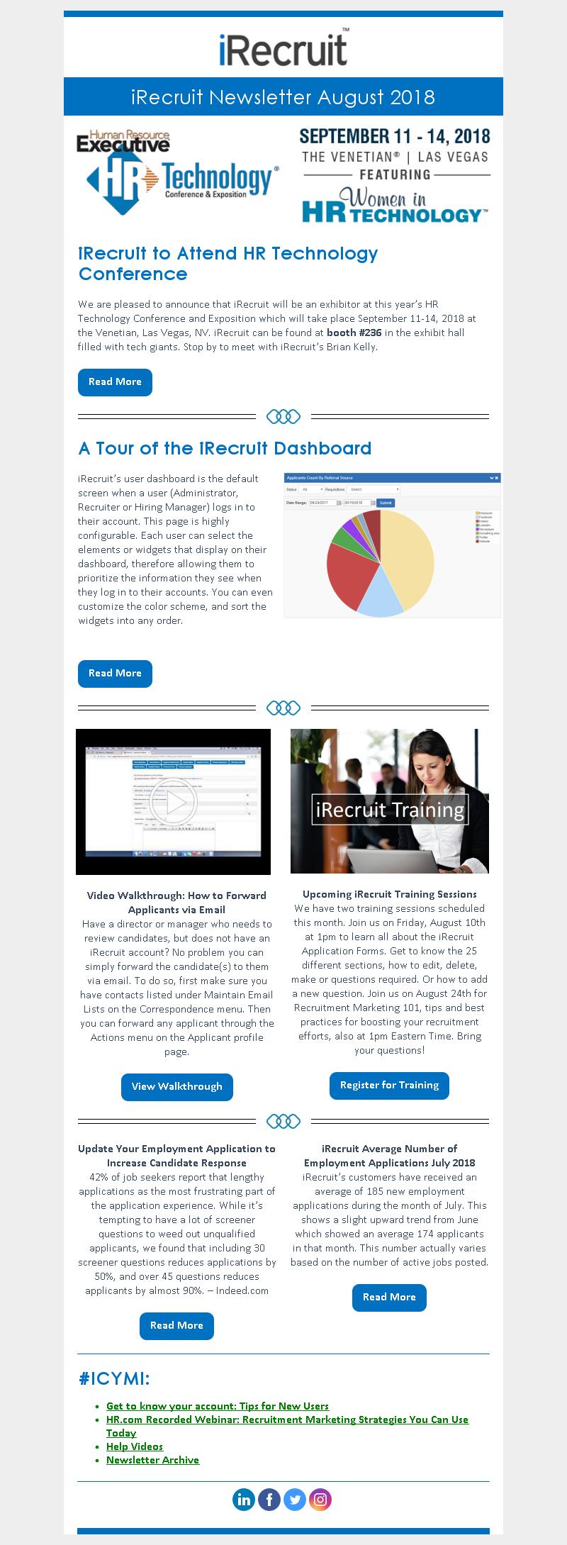 iRecruit Customer Newsletter August 2018