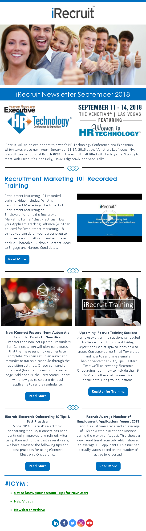 iRecruit Customer Newsletter September 2018