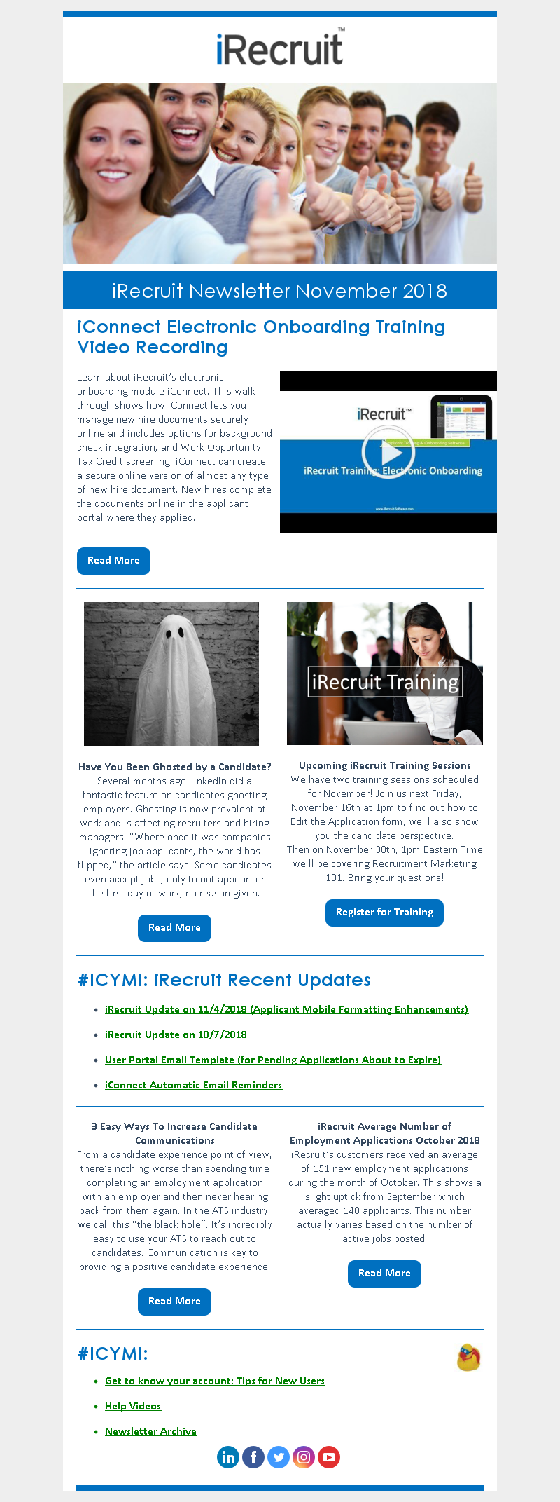 iRecruit Customer Newsletter November 2018