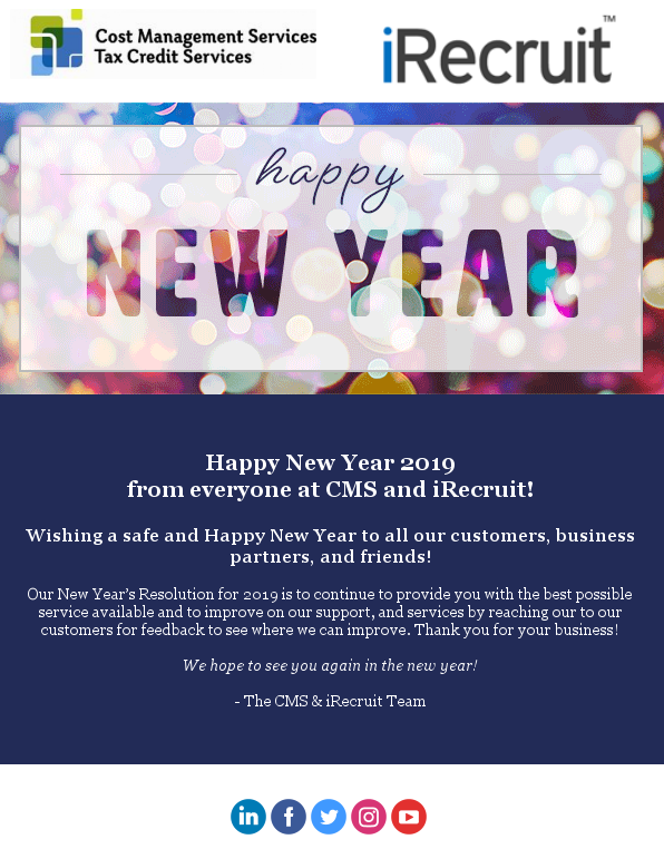 Happy New Year 2019 from CMS and iRecruit