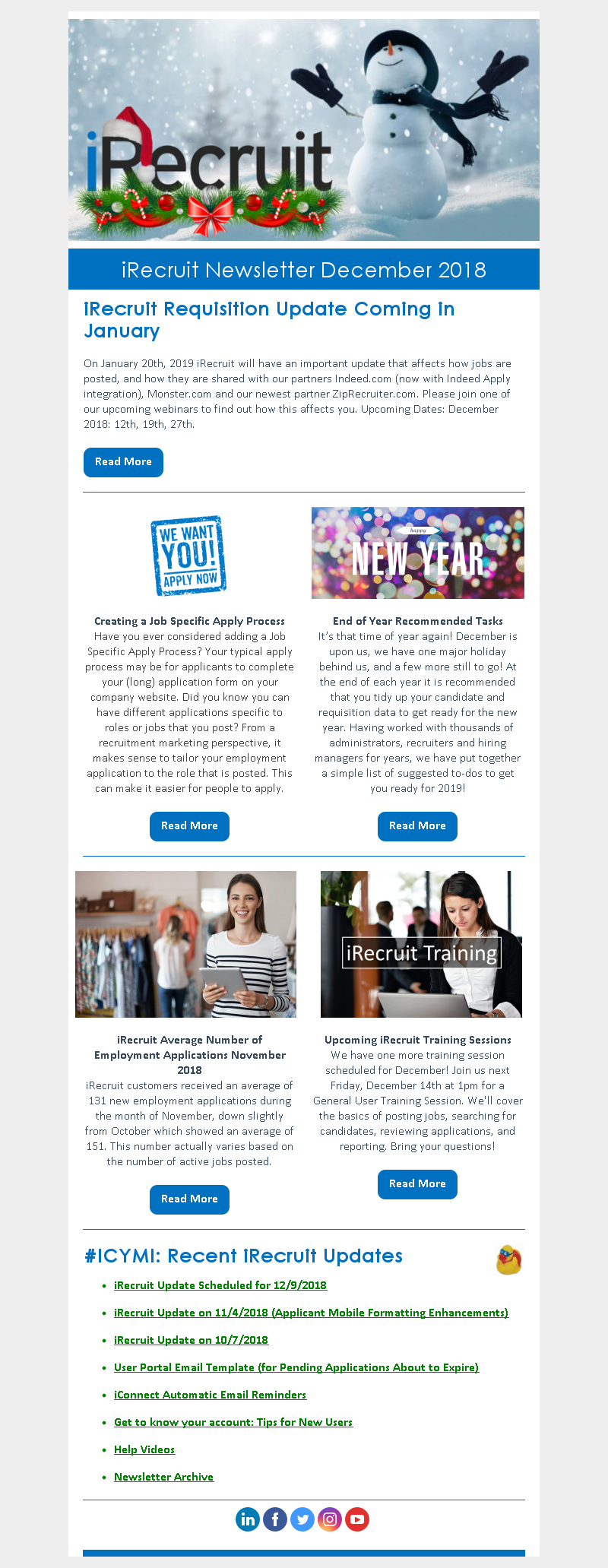 iRecruit Customer Newsletter December 2018