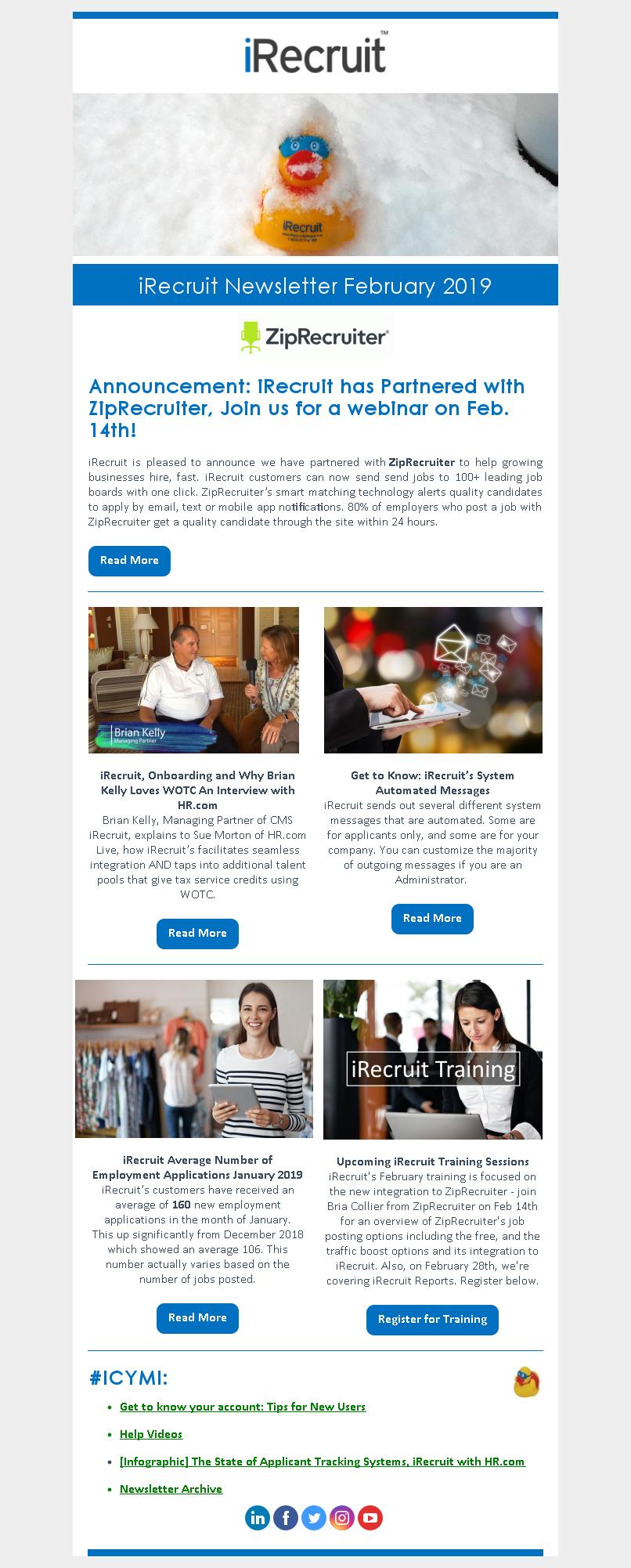 iRecruit Customer Newsletter February 2019