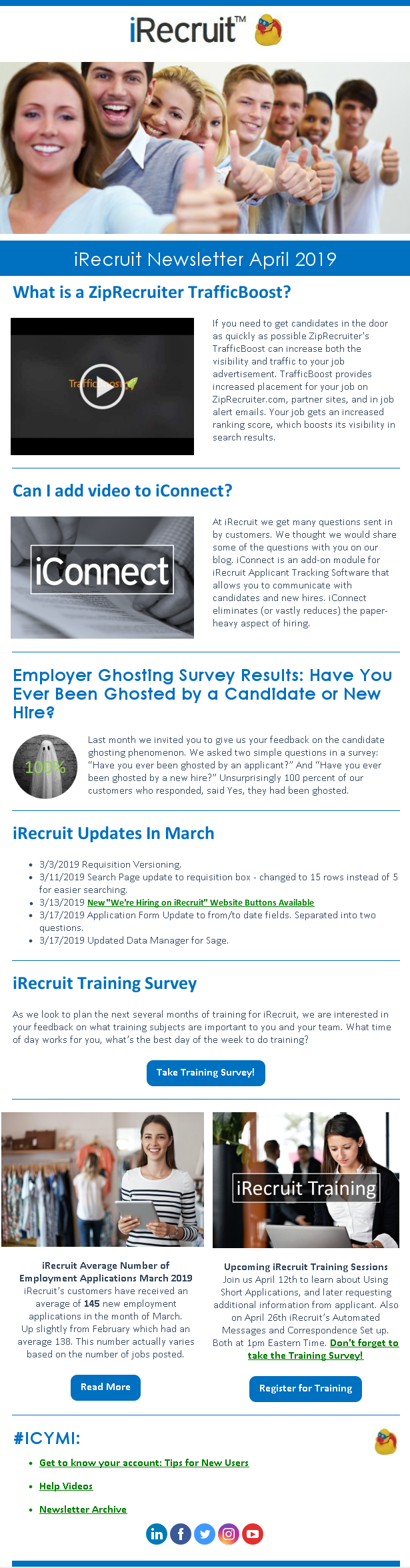 iRecruit Customer Newsletter April 2019