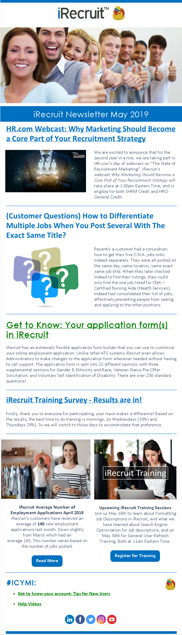 iRecruit Customer Newsletter May 2019