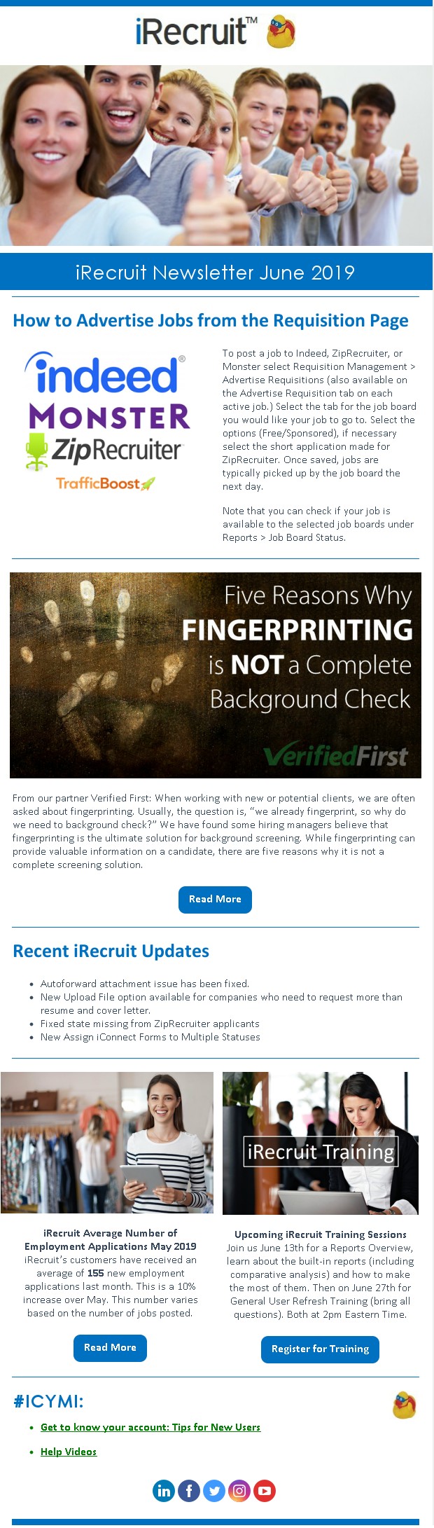 iRecruit Customer Newsletter June 2019