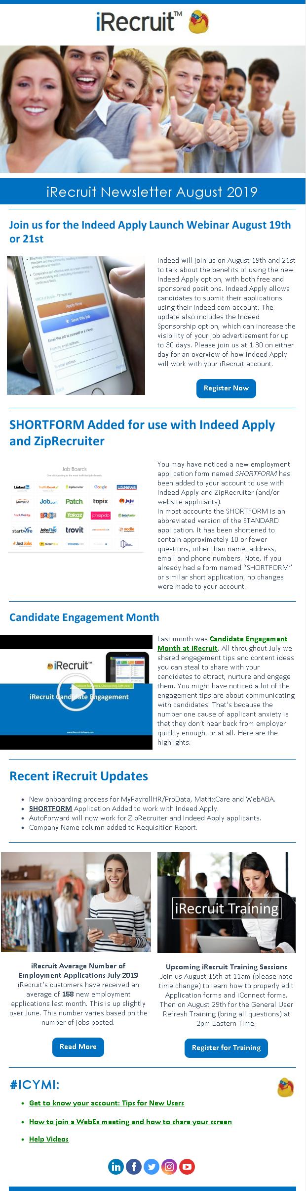 iRecruit Customer Newsletter August 2019