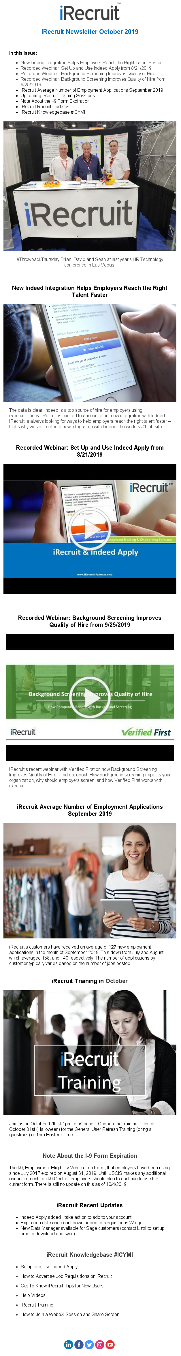 iRecruit Newsletter October 2019 Customers