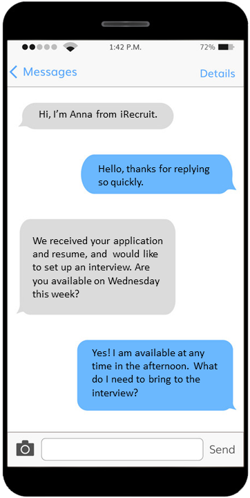 Cell phone image with messages from iRecruit to candidate