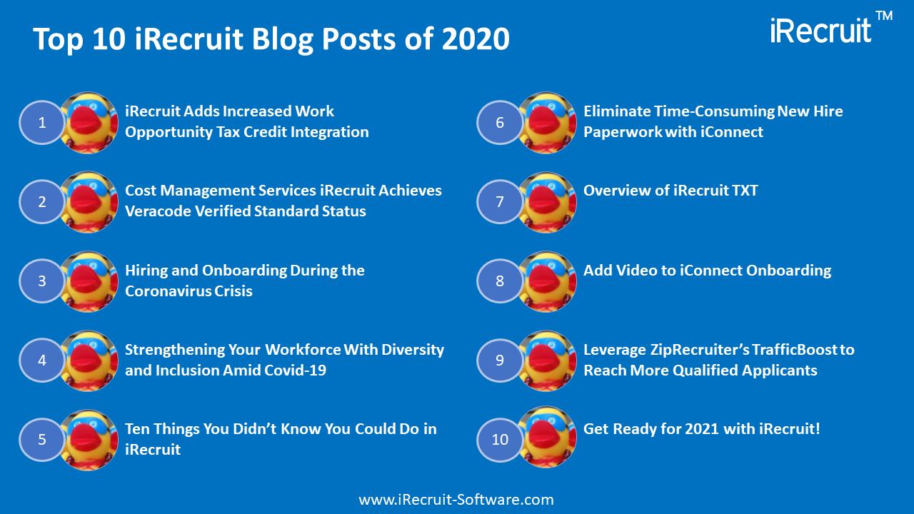 Top 10 iRecruit Blog Posts of 2020