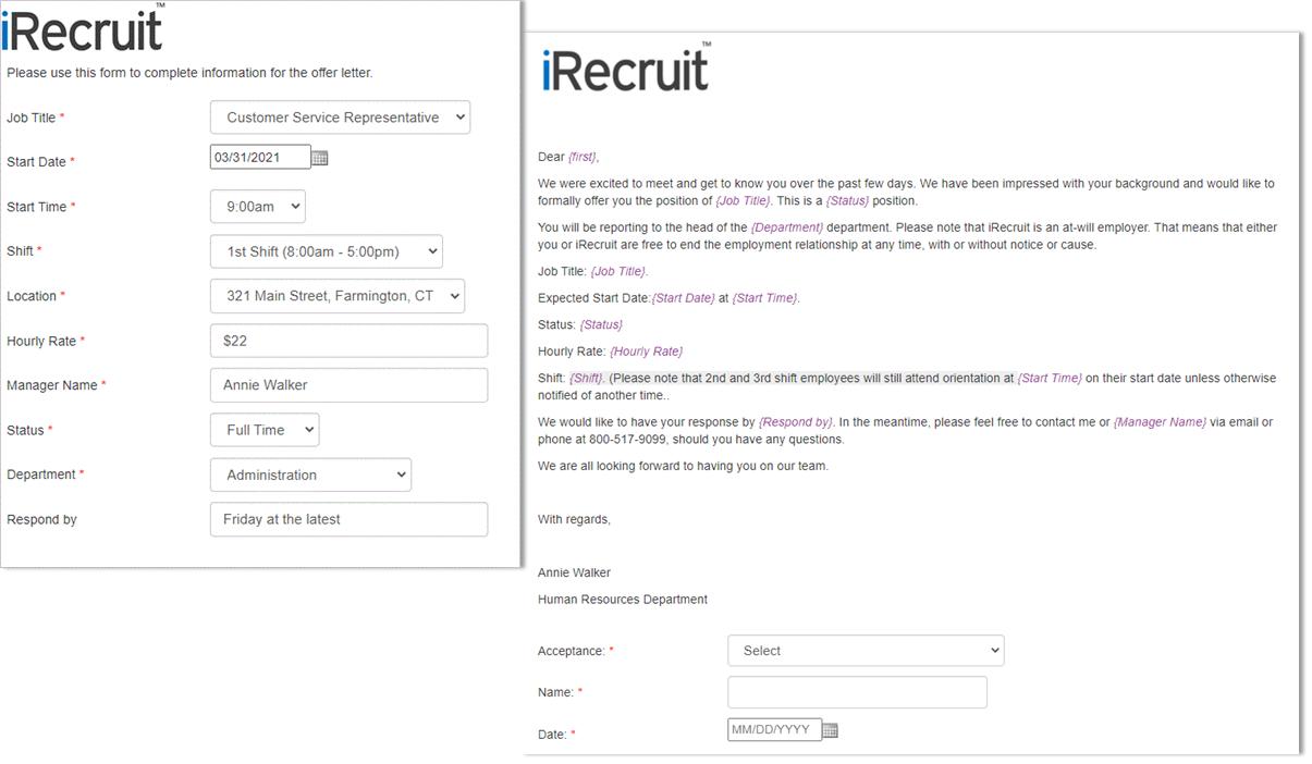 iRecruit Offer Letter