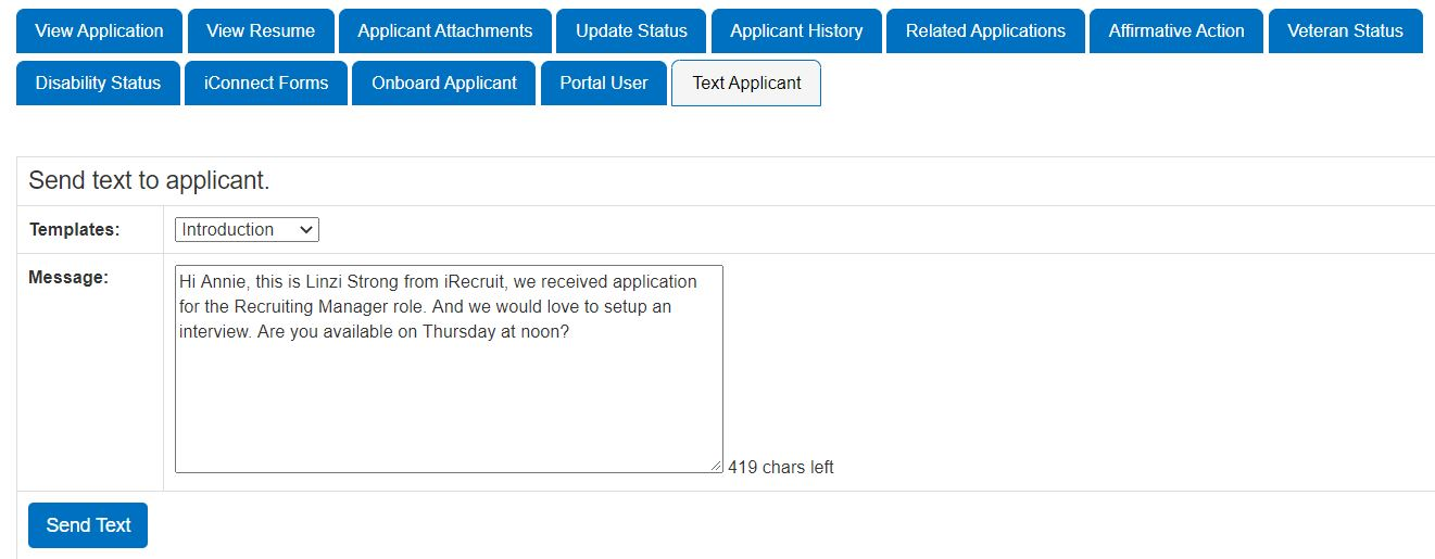 Send-Text-to-Applicants with iRecruit TXT